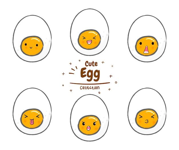 かわいい卵のセットです。マスコット漫画イラストプレミアムベクトル