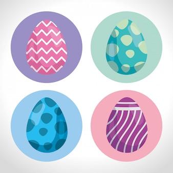 飾られたかわいい卵イースターのセット