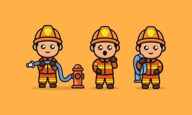 かわいい消防士のマスコットデザインイラストベクトルテンプレートのセット