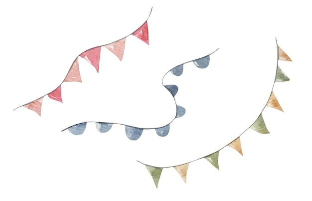 휴일, 손으로 그린 그림, 인쇄, 어린이를 위한 디자인을 위한 귀여운 깃발 세트