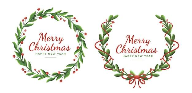 귀여운 리본이 달린 귀여운 꽃 크리스마스 화환 장식품 세트