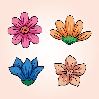 귀여운 꽃 원주민 세트