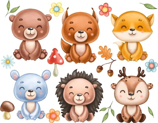 귀여운 숲 야생 동물 세트 곰 여우 다람쥐 토끼 토끼 사슴 고슴도치 잎에서 요소 버섯 꽃