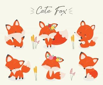 Set of cute fox vector illustration.