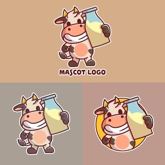 かわいい新鮮な牛乳マスコットロゴのセット