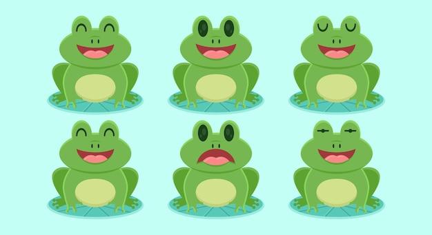 귀여운 개구리 평면 디자인 일러스트 레이 션의 집합