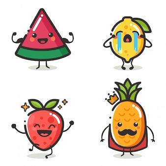 さまざまなアクションの感情でかわいいフルーツキャラクターのセット