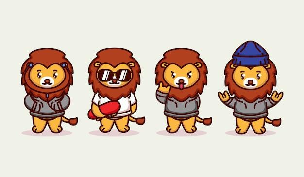 Набор милый фанк хипстерский лев