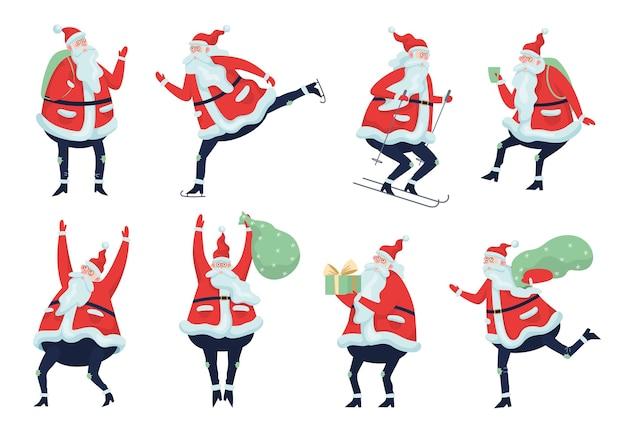 Набор милый забавный санта-клаус в очках, празднующих рождество и новый год. счастливый санта с сумкой и подарками, кататься на лыжах, кататься на коньках и веселиться. иллюстрация
