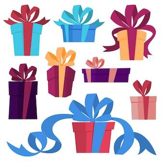 Набор милых подарочных коробок с лентой. подарки на день рождения или рождество. иллюстрация