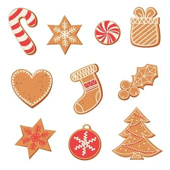 Набор милых пряников на рождество рождественские пряники зимний праздник еда