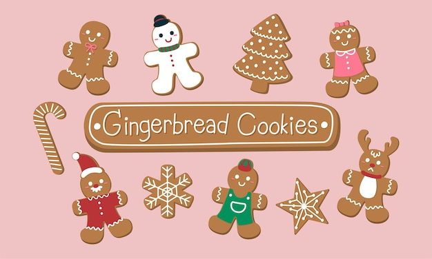 クリスマスのためのかわいいジンジャーブレッドクッキーのセット。