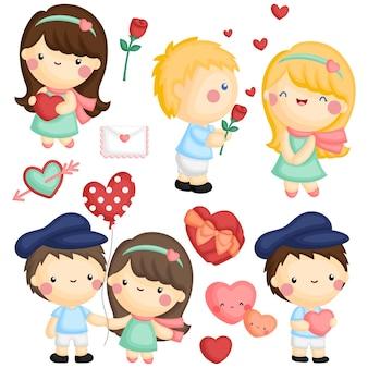 귀여운 소녀와 소년이 서로 사랑을 보여주는 세트