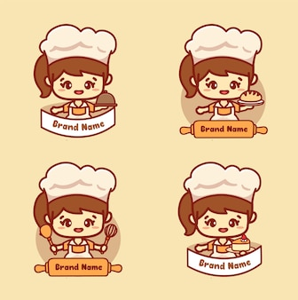 日本のケーキとキッチンツールを保持しているかわいい女の子のシェフのセットです。ベーカリーテンプレートベクトルの自家製ロゴ。カワイイスタイル