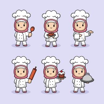 보라색에 고립 된 요리사 의상에서 귀여운 여자의 세트