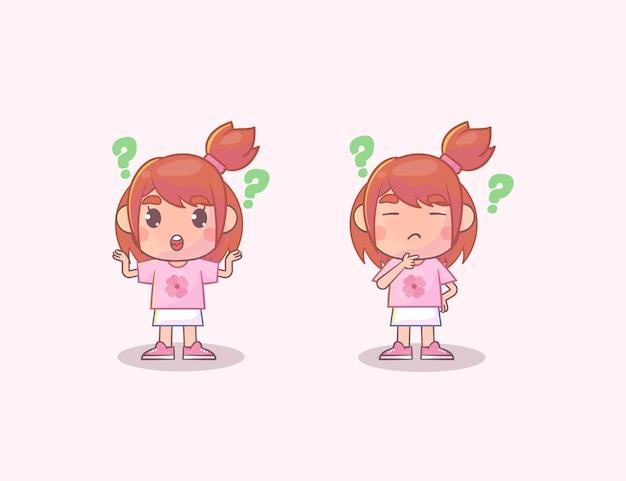 핑크에 고립 된 생각하는 귀여운 소녀 세트