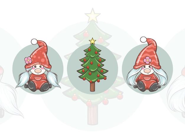 かわいいノームの女の子とクリスマスツリーのセット-クリスマスイラスト