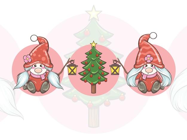 ソーラーランタンとクリスマスツリーを保持しているかわいいノームの女の子のセット-クリスマスイラスト