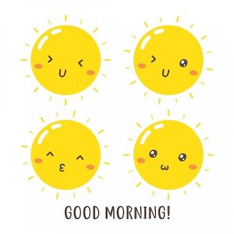 かわいいおはよう太陽ベクトルデザインのセット