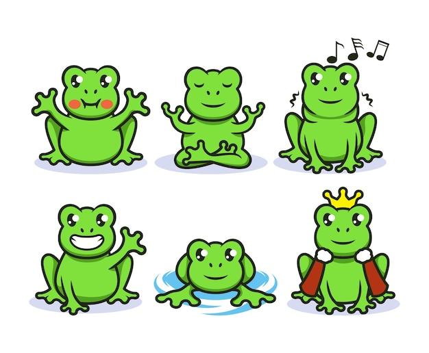 かわいい緑のカエルのマスコットのロゴデザインイラストのセット