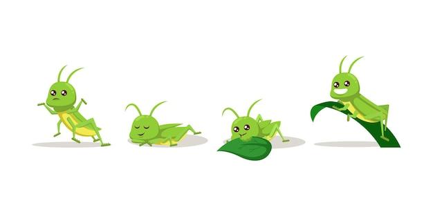 Набор милый зеленый кузнечик насекомое ошибка талисман дизайн иллюстрации