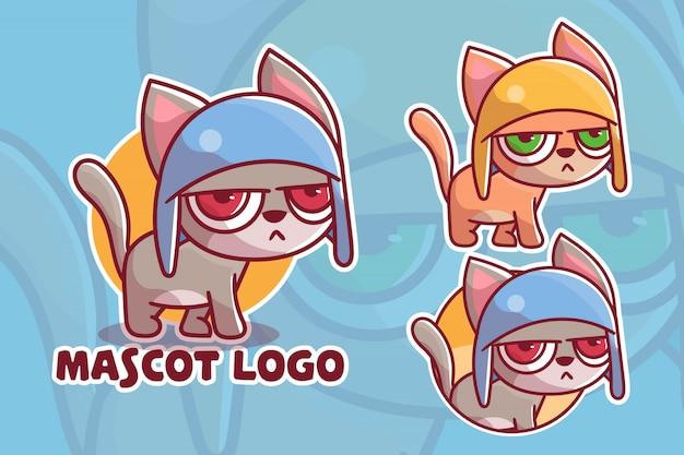 かわいい不機嫌そうな猫のマスコットのロゴのセット