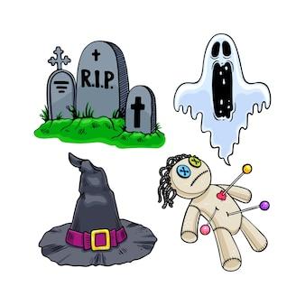 Набор милых значков хэллоуина.
