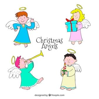 かわいい手描きのクリスマス天使のセット