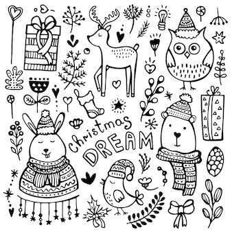 귀여운 손으로 그린 크리스마스, 새해 및 겨울의 요소 흰색 배경에 고립의 집합