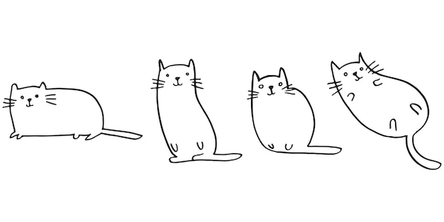 귀여운 손으로 그린 낙서 고양이 세트입니다. 애완 동물 동물 벡터 일러스트 레이 션.