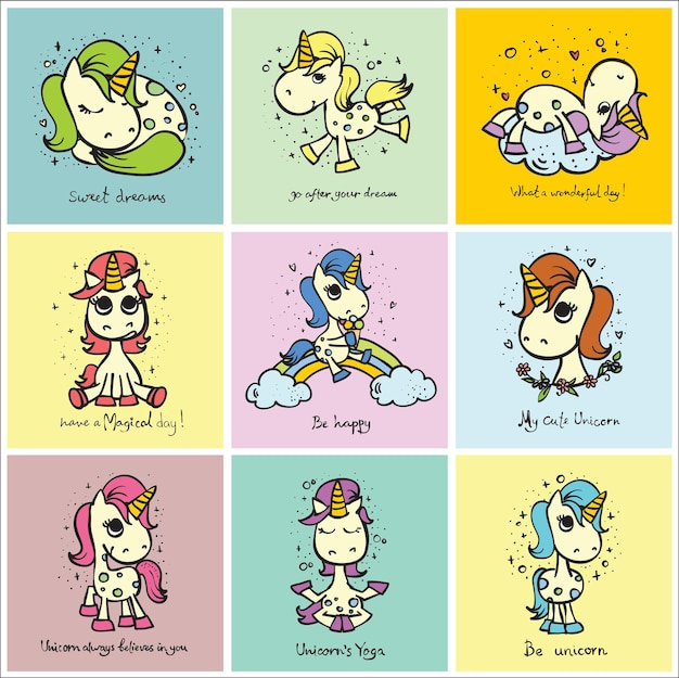 어린이용 인사말 카드 디자인, 티셔츠 인쇄, 영감 포스터를 위한 귀여운 손으로 그린 낙서 마법의 유니콘과 마법의 것들.