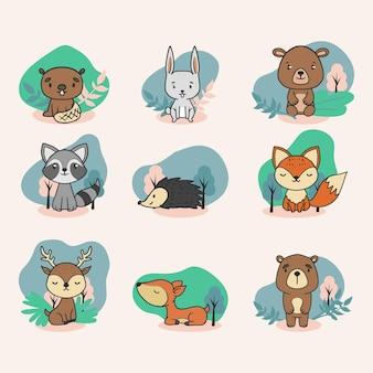 かわいい手描きの森の動物イラストのセット