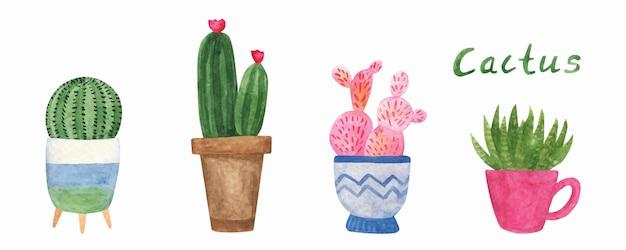 かわいい手描きの水彩サボテンポットのセット結婚式のデザインのためのイラスト観葉植物