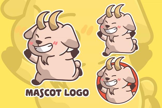 かわいい幸せなヤギのマスコットロゴのセット