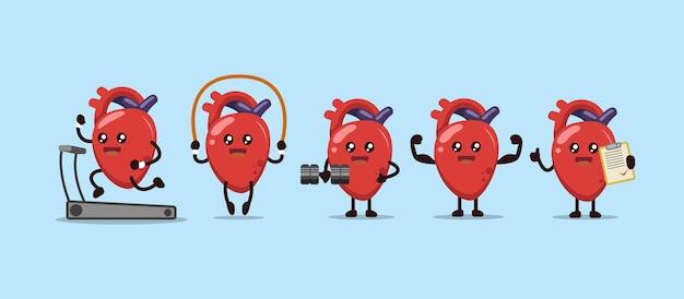귀여운 건강 운동 심장 기관 마스코트 디자인 세트