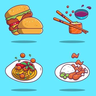 Набор милых иллюстраций тяжелой еды