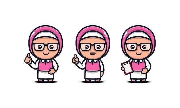 귀여운 히잡 소녀 이슬람 마스코트 디자인 아이콘 그림 세트