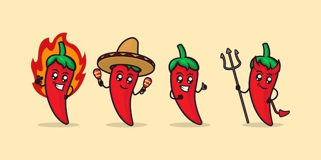 Набор милый горячий перец чили дизайн талисмана иллюстрации