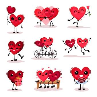 さまざまなアクションでかわいい人間化された心のセット。愛のカップル。バレンタインデーのテーマ
