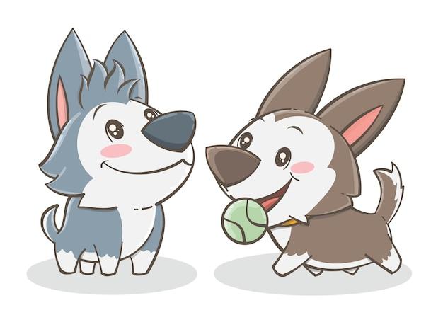 Набор милый хаски щенок - мультипликационный персонаж иллюстрации