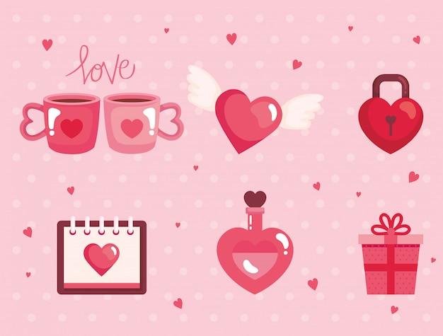 幸せなバレンタインデーのイラストのかわいいアイコンのセット