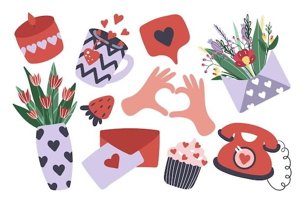 발렌타인 데이 귀여운 항목 집합입니다. 촛불, 차, 꽃다발, 컵케익, 새. 삽화