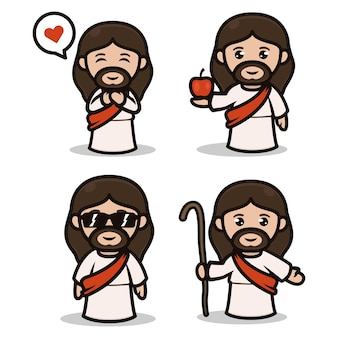 Набор милого дизайна талисмана иисуса