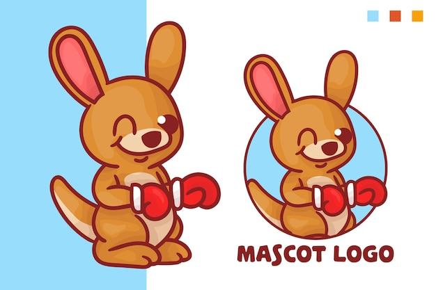 선택적 모양의 귀여운 캥거루 복서 마스코트 로고 세트.