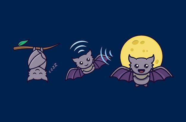 Набор милой летучей мыши каваи ночью с различной позой
