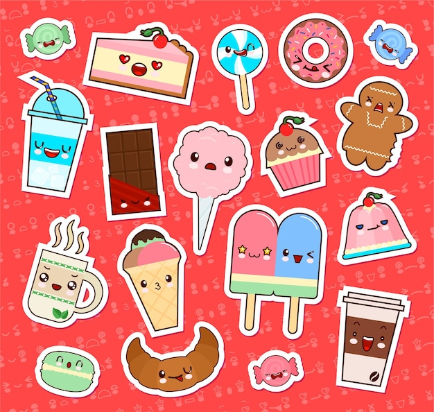 かわいいかわいい食べ物の絵文字ステッカーのセット。カップケーキ、アイスクリーム、ドーナツ、キャンディー、クロワッサンなど。