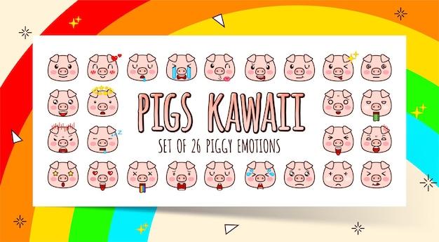 Набор милых розовых свиней каваи с различными эмоциями