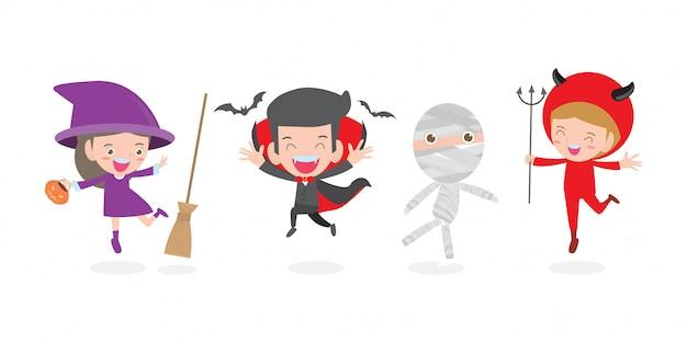 ハロウィンモンスターコスチューム、ハッピーハロウィンパーティー、ハロウィンコスプレ子供とマスコットハロウィンイラストを着ている子供たちのかわいい子供たちのセット