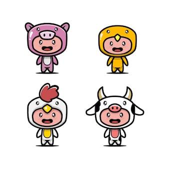 Набор милых детей с иллюстрацией значка дизайна костюма животных Premium векторы