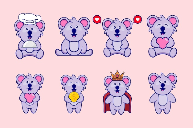 Набор милый дизайн персонажей талисмана коала. концепция животных изолирована. плоский мультяшный стиль